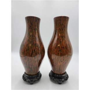 A Pair of Mid Century Modern Lacquered Vases