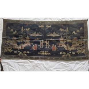 Chinese Embroidery Silk Panel 1900-1930