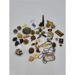 Large Grouping Of Various Vintage Military Pins Buttons