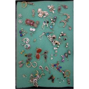 Grouping Of Sterling Silver Jewelry W/ Precious Stones