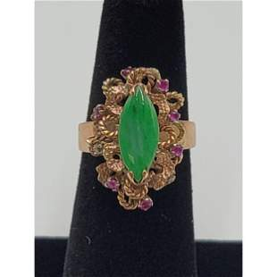 14K Gold With Ruby And Jadeite Ring. 4.77 Grams