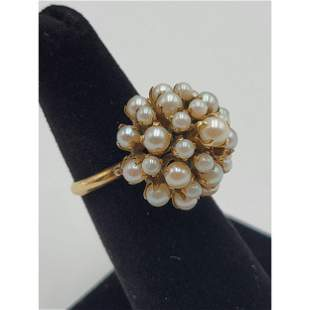 18K Gold With With Pearl Princess Ring