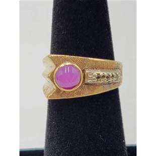 10K Gold Ring With Ruby & Small Diamonds