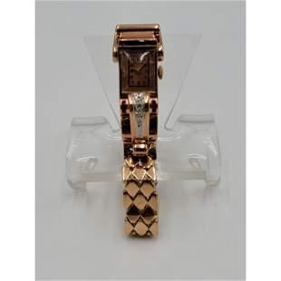 14K Gold, Rose Gold, Diamond W/ Rubies Ladies Watch