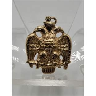 14k Gold Masonic  Pendant Double Eagle