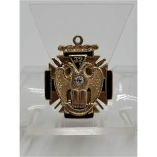 14k Gold & Diamond Masonic 32Nd Degree FOB / Pendant