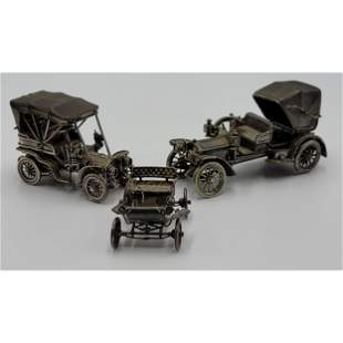 Lot Of 3 Vintage Solid Sterling Silver Antique Cars