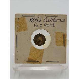 1852 California 1/2 Cent Fractional Gold Coin