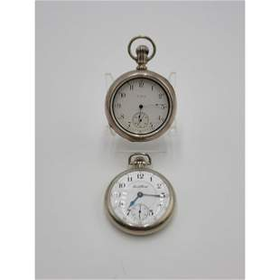 2 Vintage Elgin & South Bend Coin Silver Pocket Watches