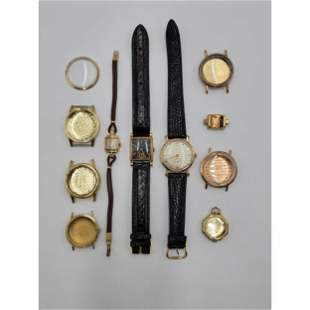 Lot Of Vintage Watched All 10 To 14 K Gold