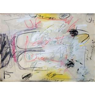 Mix Media Abstract Painting In Manner Of Cy Twombly