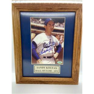 Vintage Sandy Koufax Hall Of Fame 1972 Autographed Phot