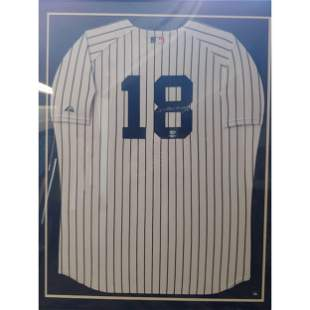 Johnny Damon Yankees Autographed Jersey Framed w/ Stein