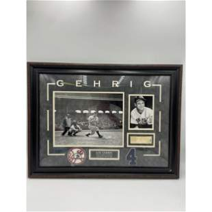 LOU GEHRIG NEW YORK YANKEES PHOTOS W/ SIGNED MATCHBOOK