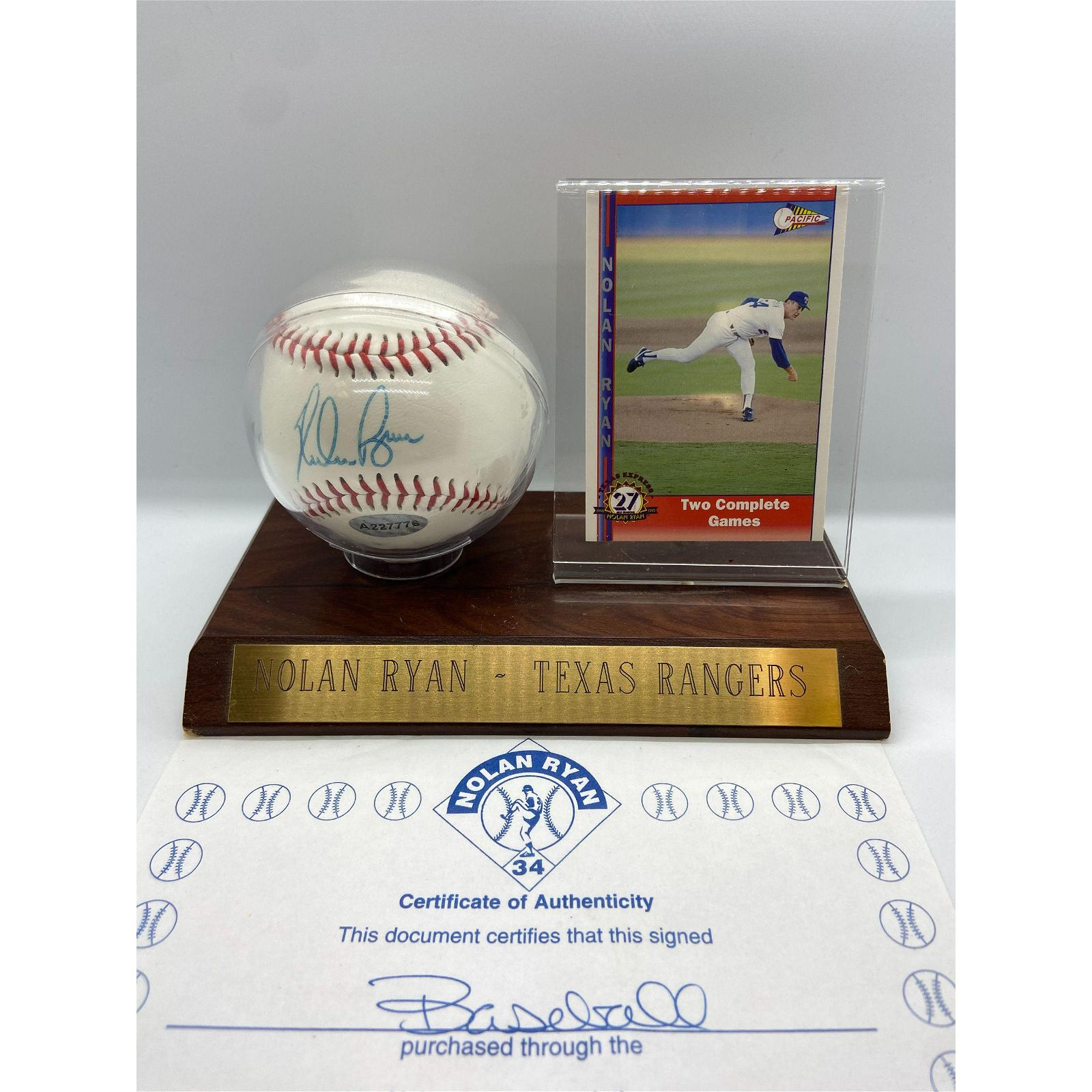 Authentic MLB Texas Rangers NOLAN RYAN Autographed Base