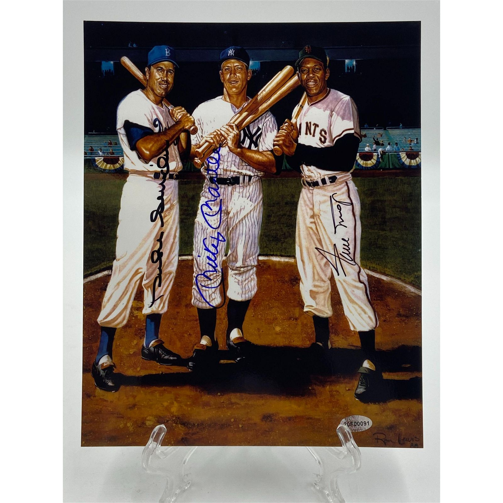 Duke Snyder Willie Mays Mickey Mantle Autograph W/ COA