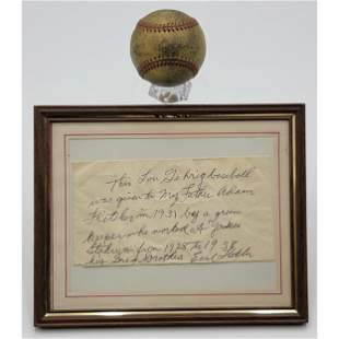 Signed Lou Gehrig Field Baseball Ca 1931 GURANTEED 100%