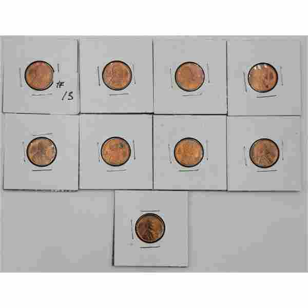 Lot Of 9 1909 VDB US Lincoln Pennies MS60 Or Better