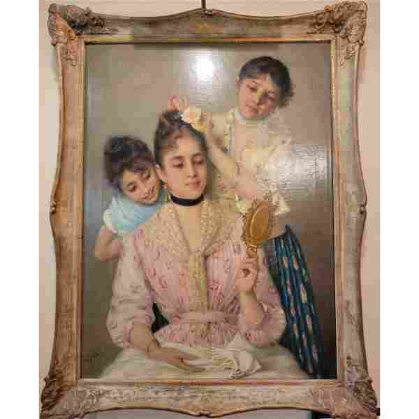 Antique O/C Victorian Portrait Painting Signed 19th C