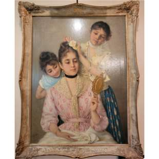 Antique O/C Victorian Portrait Painting Signed 19th C