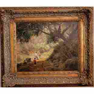 A Fine Antique Landscape Painting With Children Signed