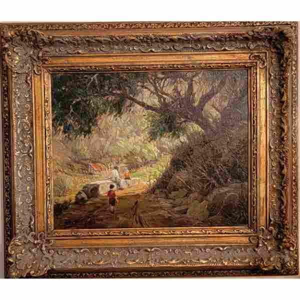 A Fine Antique Landscape Painting With Children Signed