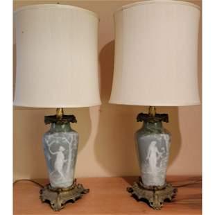 Antique Limoges Pate Sur Pate Lamps Artist Signed