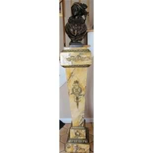 19th C Bronze Sculpture On Marble Pedestal M. DE GHEEST