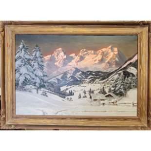 A Arnegger 1879-1963 Austrian Snow Landscape Painting