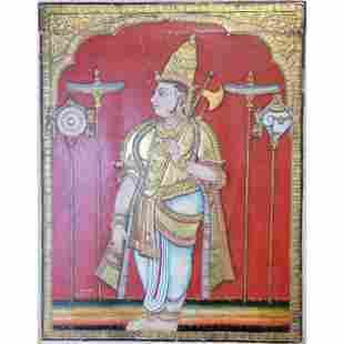 Indian Painting of a Deity Parashurama With Axe