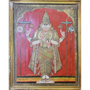 Indian Painting of a Deity Raised Gilt Design On Panel