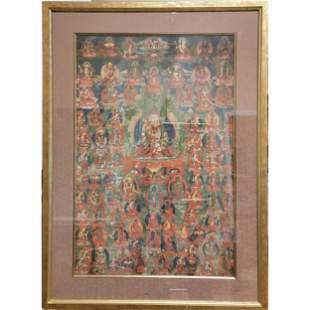 A Fine 18th Century Tibetan Thangka Framed