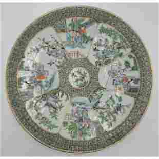 Chinese Famille Verte Charger Qing Dynasty