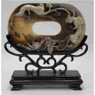 Chinese Jade Plaque Bi Disc Chilong Relief Archaic Styl