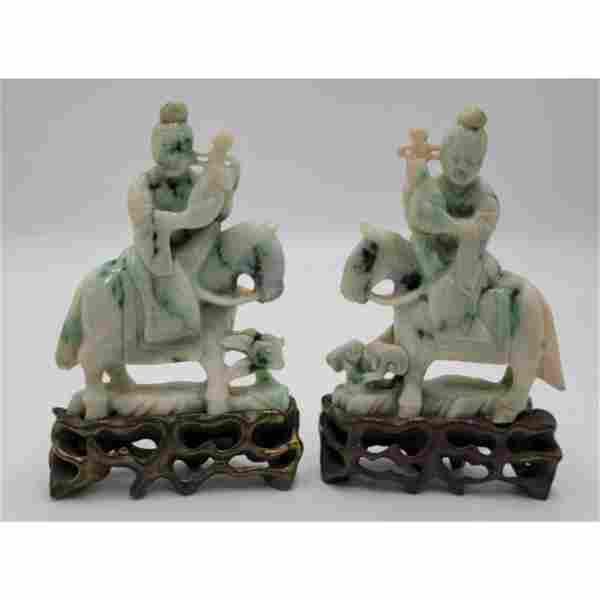 A Fine Pair Of Chinese Jadeite Figures On Horseback