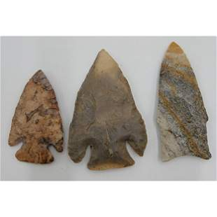 3 Native American Arrowhead Point Unknown Age