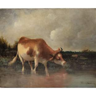 American Henry Carey Cow Painting Signed