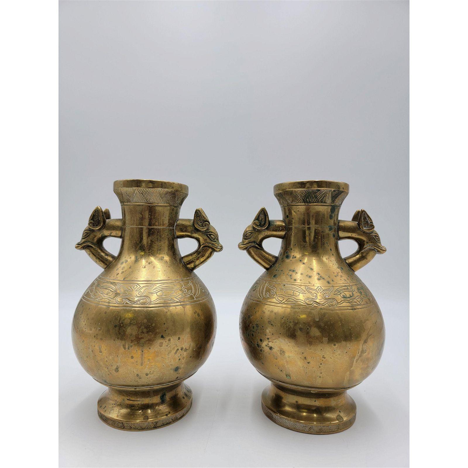 Pair Of Chinese Bronze Vases Ca 1900-20