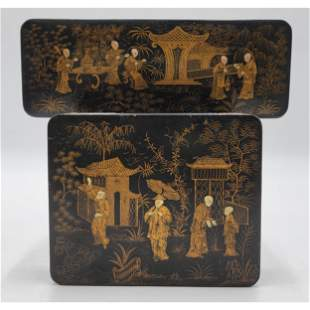 """Lot Of 2 Chinese Lacquered Boxes 19th C """"CHINOISERIE"""""""