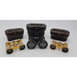 Lot Of 3 Antique Opera Binoculars 2 Women 1 Man