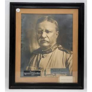 Theodore Roosevelt Photo W/ Authentic  Signature Card