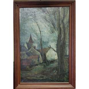 Antique O/C Mystery Landscape Painting Signed