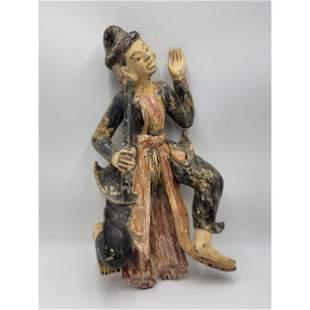 Antique Polychrome Painted Wood Thai Statue