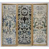 3 Antique Chinese Embroidery Silk Panels Qing Dynasty