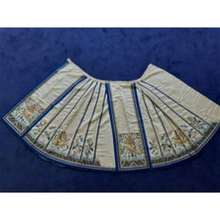 19 C Chinese Embroidery Silk Skirt Five Claw Dragon