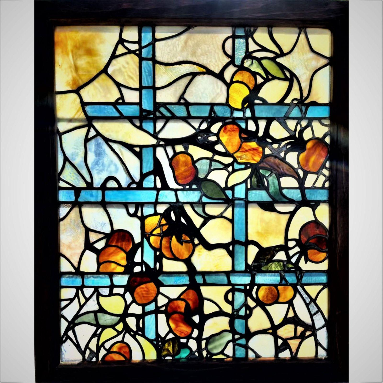 Antique Tiffany Studios Leaded Stain Glass Window 1900