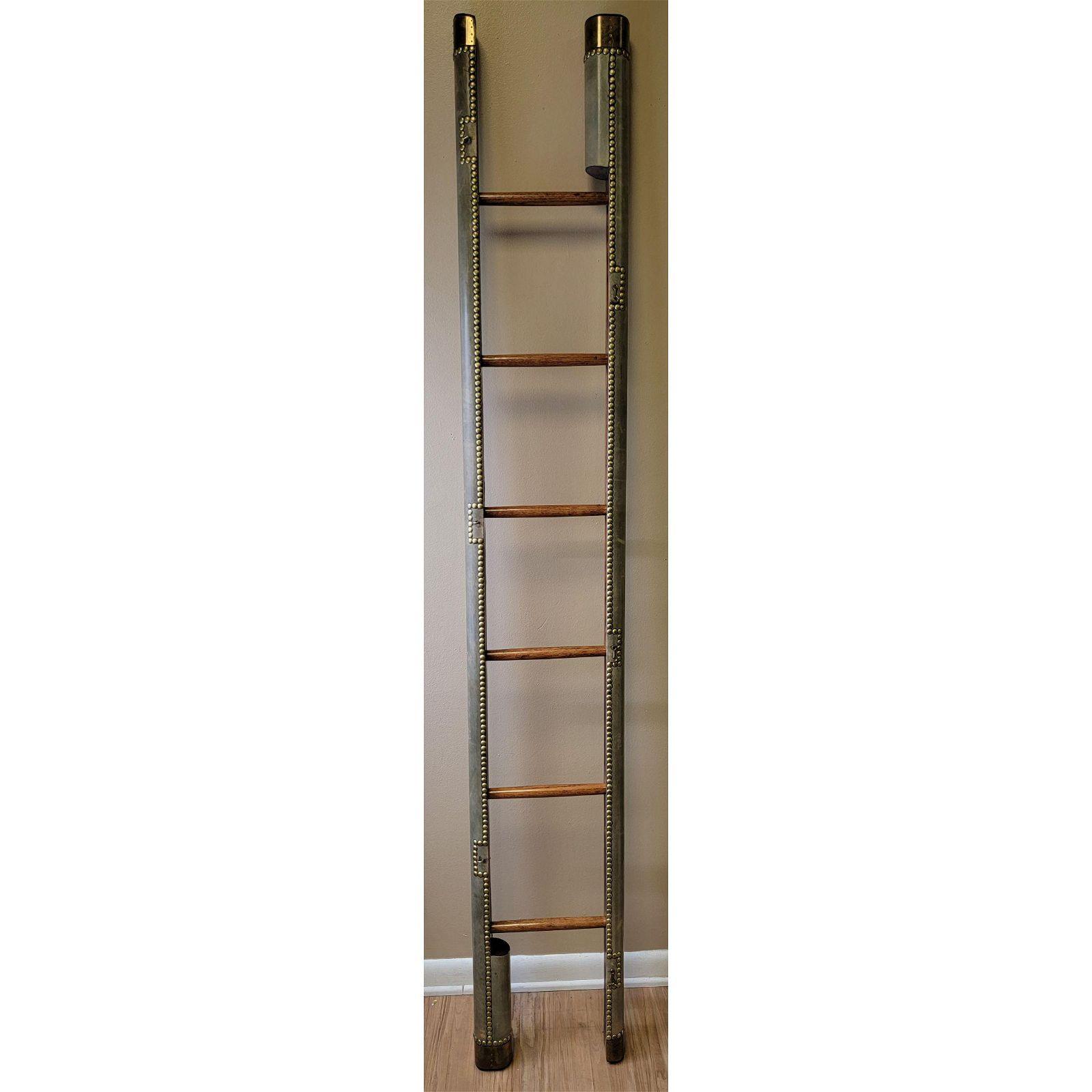 English Regency Style Folding Library Pole Ladder