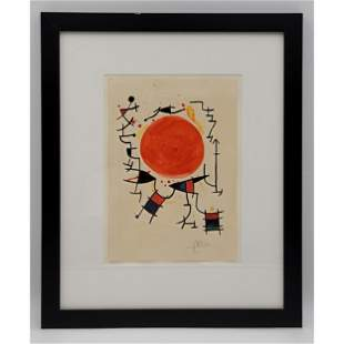 Abstract Watercolor Painting Signed Miro