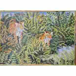 20 C Wildlife Painting Of Two Tigers In Foliage
