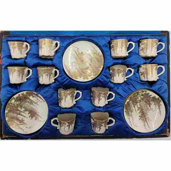 19th C Japanese Satsuma Tea Cups & Saucers Signed